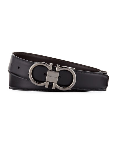 Men's Double-Gancini Reversible Leather Belt