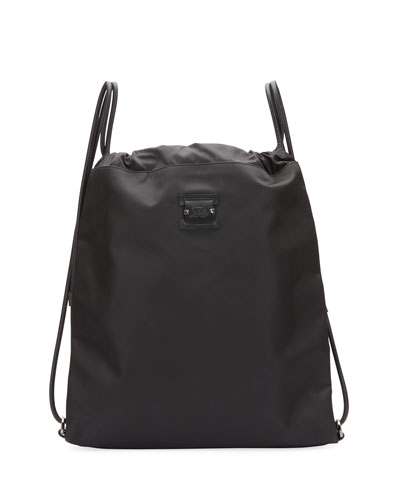 Men's Kaloubi Drawstring Backpack with Leather Trim