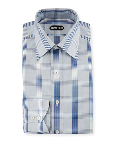 Plaid Cotton Dress Shirt, Blue