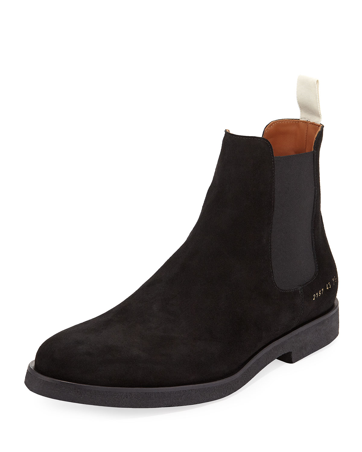 COMMON PROJECTS MEN'S CALF SUEDE CHELSEA BOOT, BLACK