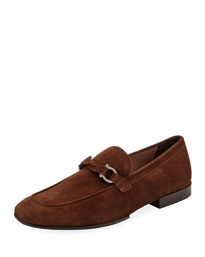 18ed0c66a8103 Men's Barry Suede Rubber-Sole Gancini Loafer, Brown Quick Look. Salvatore  Ferragamo