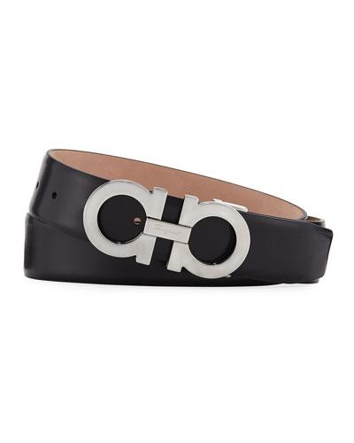 Men's Panini Leather Gancini-Buckle Belt, Black