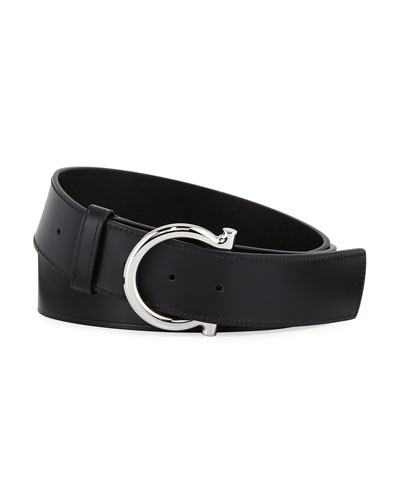 Salvatore Ferragamo Men's Casual Leather Gancio-Buckle Belt