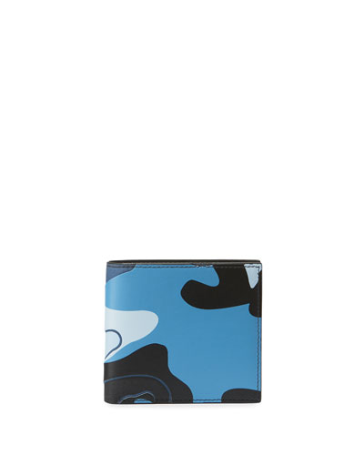 Men's Camo-Print Leather Bifold Wallet
