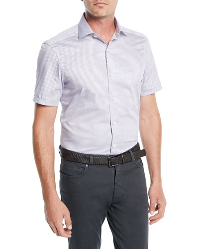 Men's Woven Micro-Dot Cotton Short-Sleeve Shirt