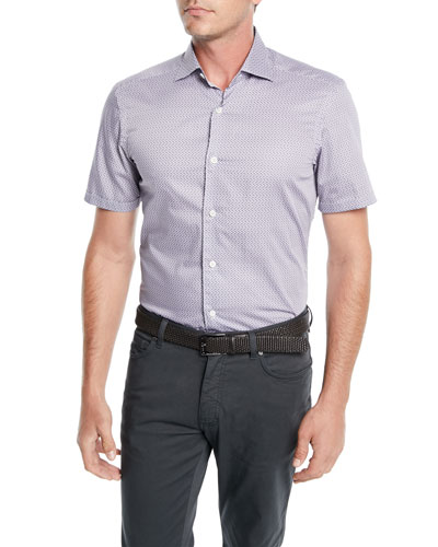 Men's Woven Micro-Print Cotton Shirt