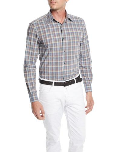 Men's Woven Large-Plaid Cotton Sport Shirt