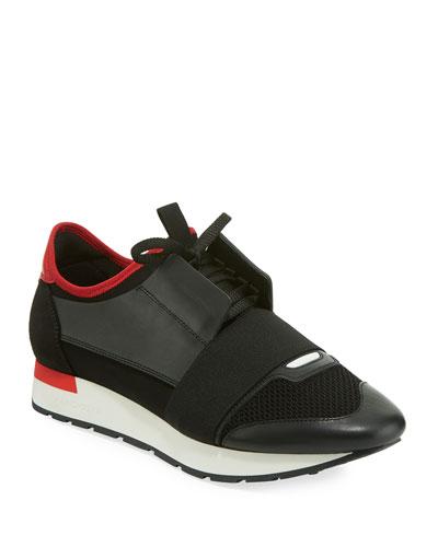 Men's Race Runner Mesh & Leather Sneakers, Black/Red