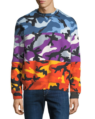Men's Multicolor Pieced Camouflage Sweatshirt