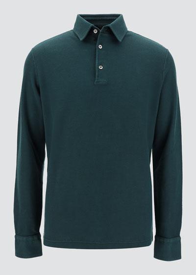 Men's Long-Sleeve Pique Polo Shirt