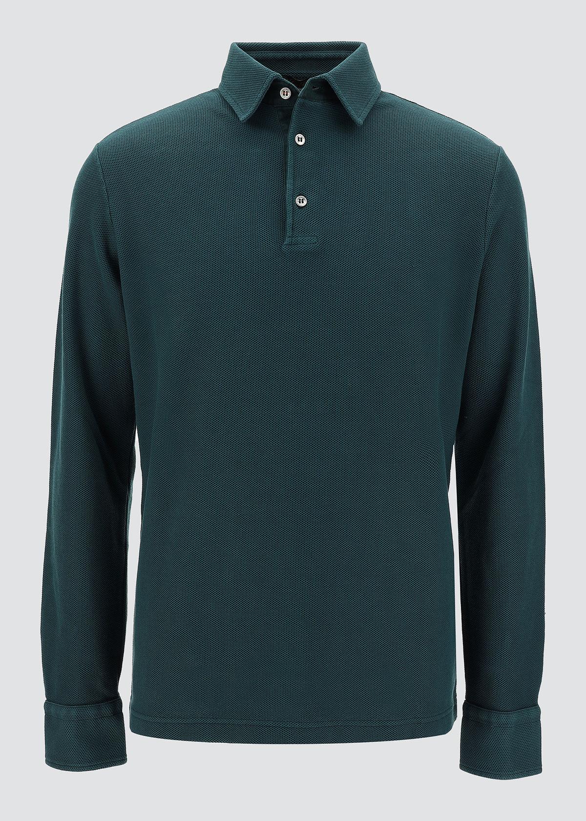 Loro Piana T-shirts MEN'S LONG-SLEEVE PIQUE POLO SHIRT