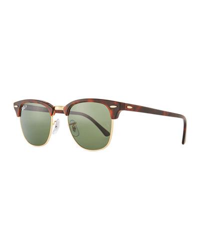 Men's Classic Clubmaster Polarized Half-Rim Sunglasses