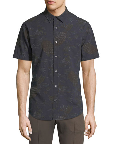 Men's Pineapple Tropical-Print Short-Sleeve Sport Shirt
