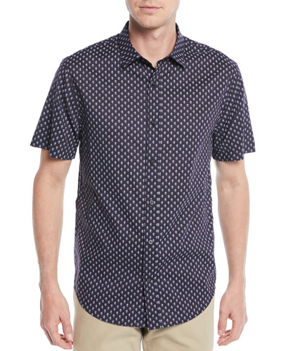 Men's Vintage-Print Short-Sleeve Sport Shirt