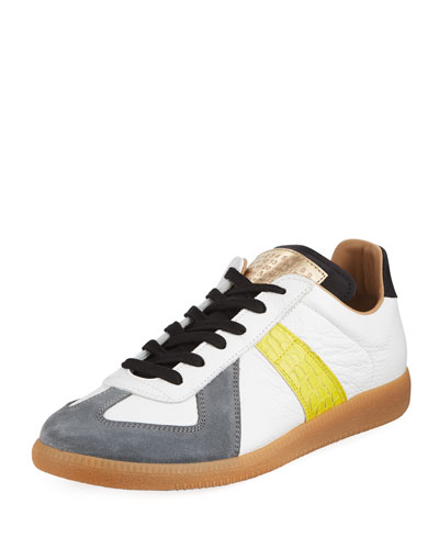 Replica Men's Contrast-Trim Leather & Suede Low-Top Sneakers