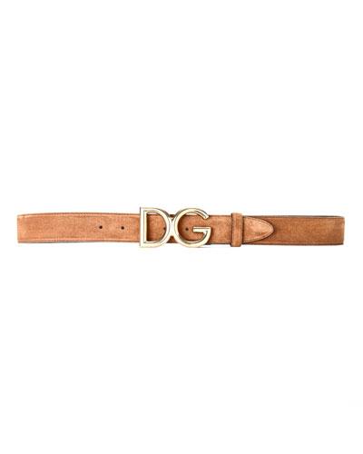 Men's Suede Belt w/ Logo Buckle