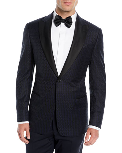 Men's Tonal Geometric Wool Dinner Jacket