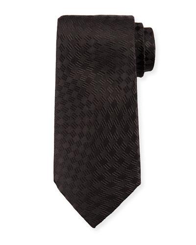 Tonal Wave Check Silk Tie, Black