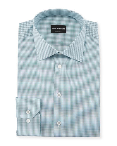 Men's Micro-Graph Cotton Dress Shirt, Green