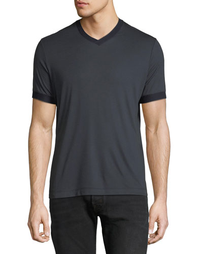 Men's Contrast-Trim V-Neck T-Shirt