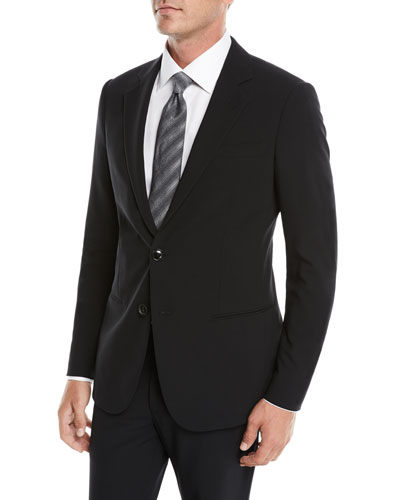 Men's Crepe Wool Two-Piece Suit, Black