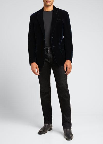 Men's Velvet Two-Button Sport Coat Jacket, Navy