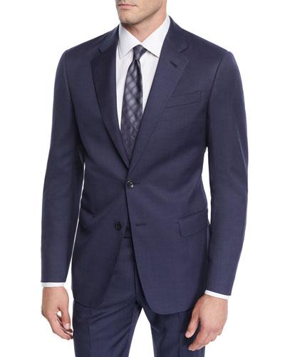 Men's Birdseye Windowpane Two-Piece Wool Suit