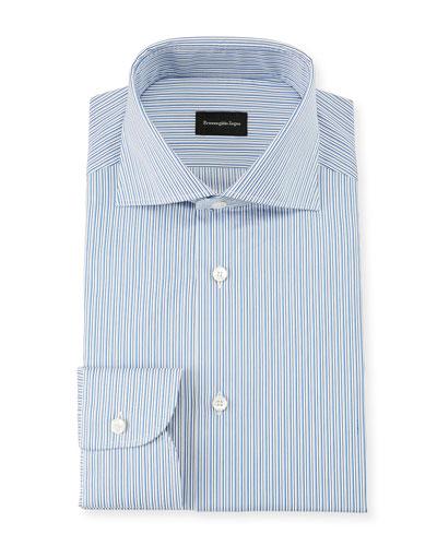 Men's Multi-Stripe Cotton Dress Shirt, Royal Blue