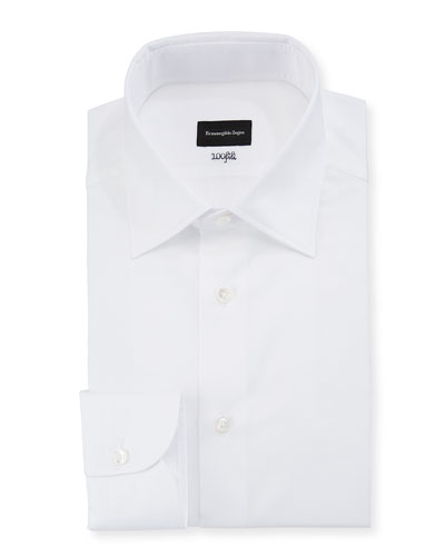 Men's 100Fili Cento Solid Poplin Dress Shirt, White