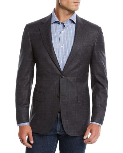 Men's Super 120s Wool Plaid Sport Coat Jacket