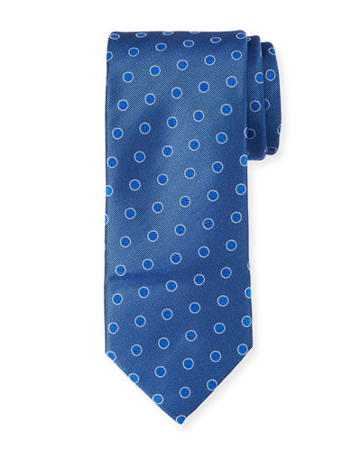 Canali Textured Dot Silk Tie, Blue