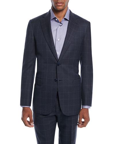 Men's Windowpane Two-Piece Wool-Silk Suit