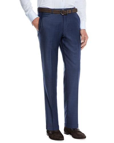 Trofeo Wool Flat-Front Trousers, Blue