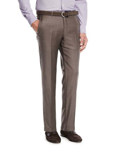 Trofeo Wool Flat-Front Trousers, Brown