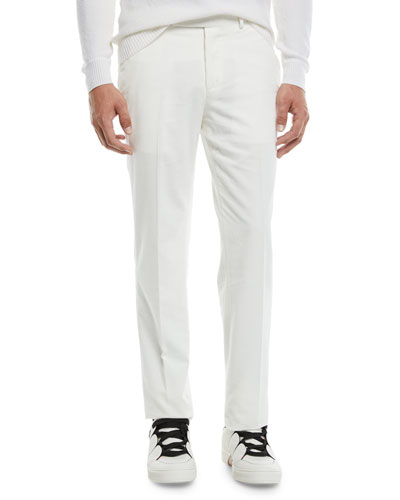 Men's Flat-Front Cotton/Cashmere Corduroy Trousers, White