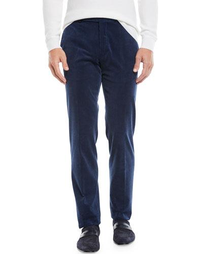 Men's Flat-Front Cotton/Cashmere Corduroy Trousers, Navy