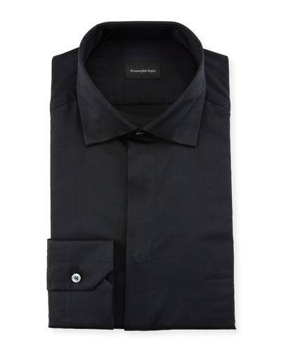Men's Hidden-Button Covered Placket Formal Shirt