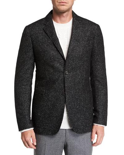 Men's Two-Button Tic-Pattern Jacket