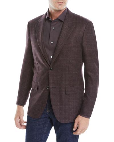 Men's Two-Button Tonal Plaid Wool/Cashmere Jacket