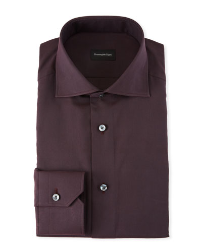 Men's Solid Twill Dress Shirt, Burgundy