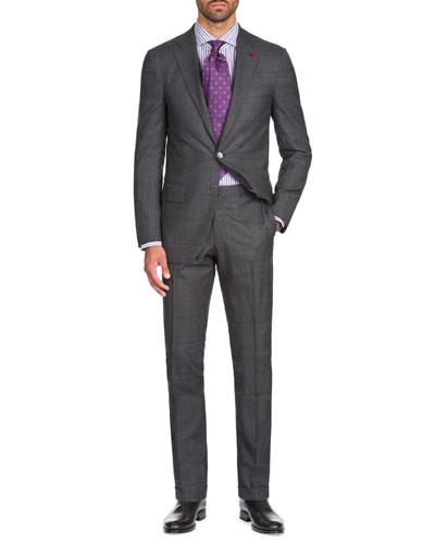 Men's Graph Windowpane Two-Piece Wool Suit