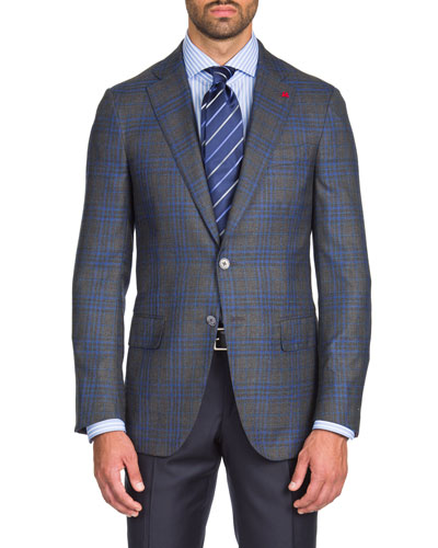 Men's Two-Tone Plaid Cashmere/Silk Two-Button Jacket