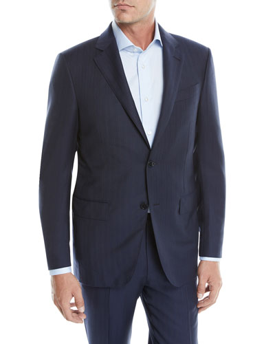 Men's Tic Striped Wool Two-Piece Suit
