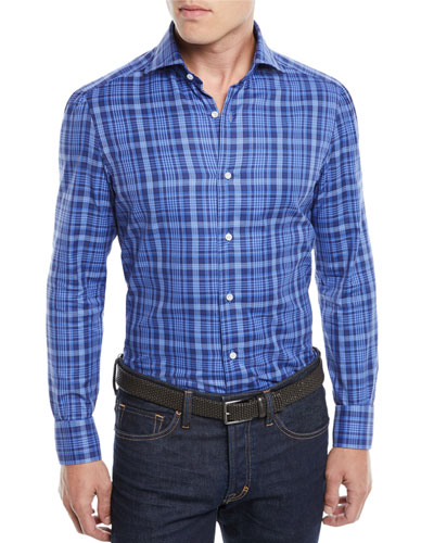 Men's Madras Plaid Cotton Sport Shirt
