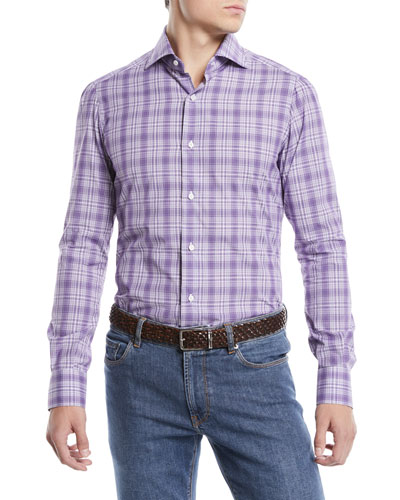 Men's Graph Plaid Cotton Sport Shirt