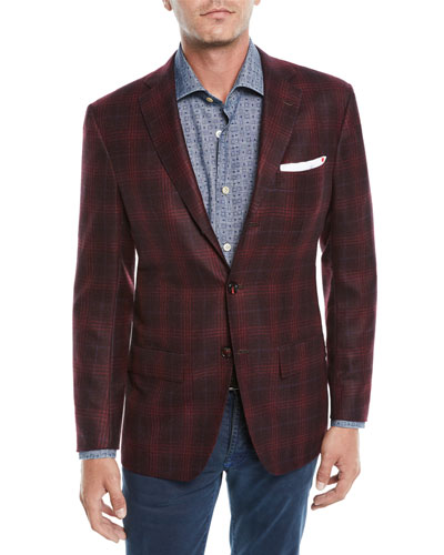 Men's Plaid Cashmere 3-Button Sport Coat Jacket
