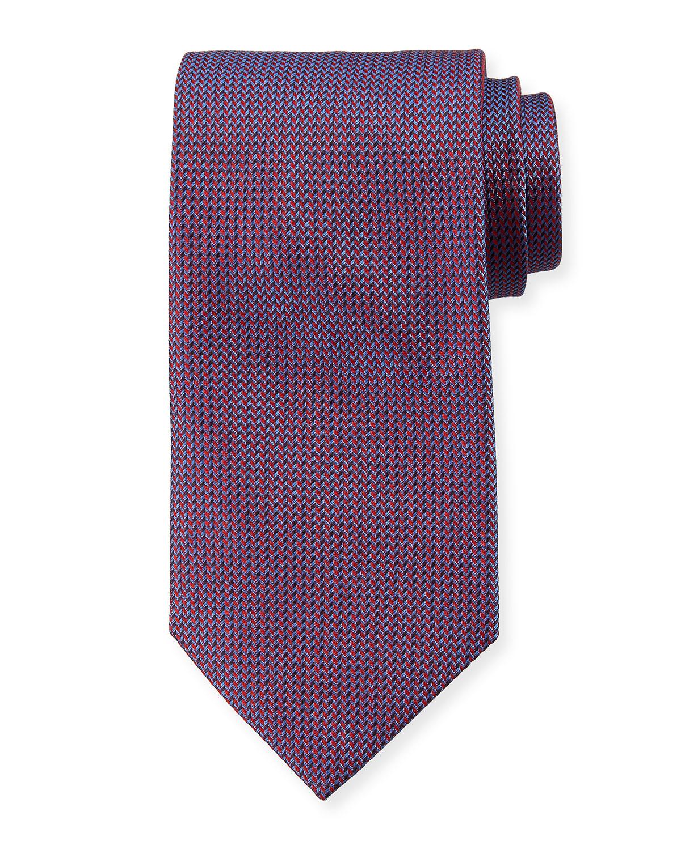 BRIONI Chevron-Weave Silk Necktie - Red