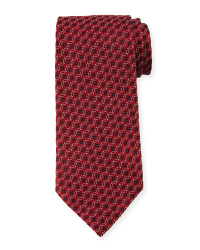 Box-in-Circle Silk Tie, Red