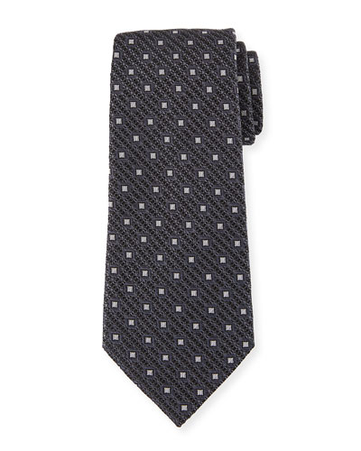 Ermenegildo Zegna Box-On-Jacquard Silk Tie, Gray