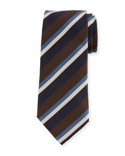 Ermenegildo Zegna Four-Color Stripe Silk Tie, Brown